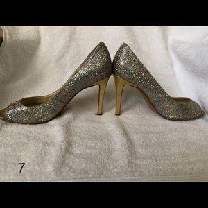 Enzo Angiolini Sparkly Peep toe pumps